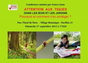 Conférence France Lyme 27 septembre 2015 Parc Floral de Paris